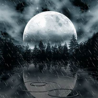 Moon Rain Animated Reflection Night Rainy Moonlight