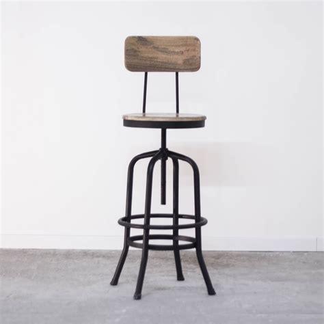 chaise bois et metal chaise haute industrielle de bar en métal avec dossier