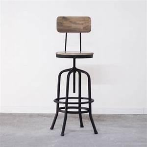 Chaise Bar Bois : tabouret de bar industriel avec dossier en bois et m tal ~ Teatrodelosmanantiales.com Idées de Décoration
