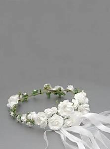 Couronne De Fleurs Mariage Petite Fille : couronne de fleur mariage ou communion avec feuilles et fleurs blanches ~ Dallasstarsshop.com Idées de Décoration