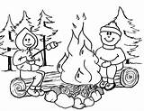 Coloring Pages Camping Campfire sketch template