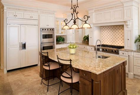stylish granite top kitchen island with seating and