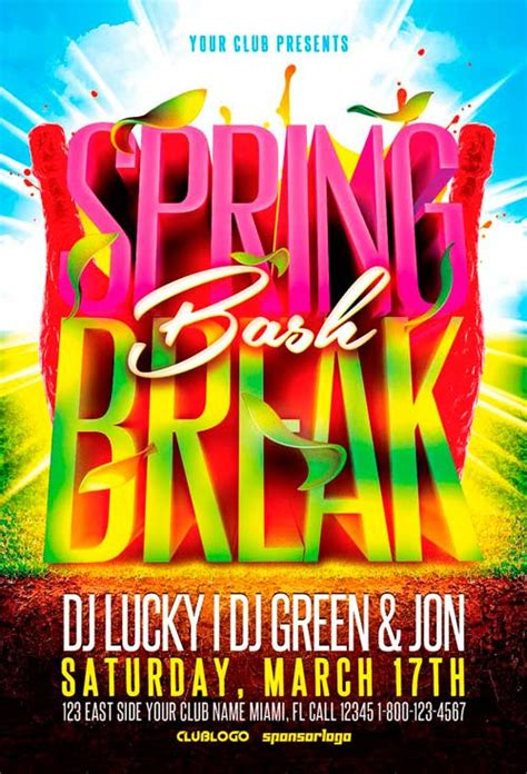 Spring Break Bash Flyer Template Ffflyercom