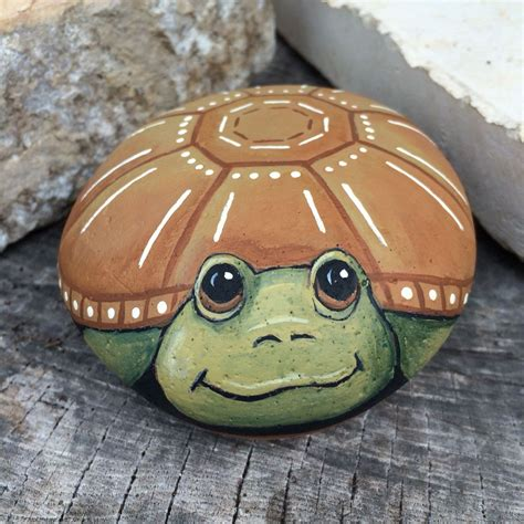 Turtle Painted On Stone Its A Great Life Rockinart58
