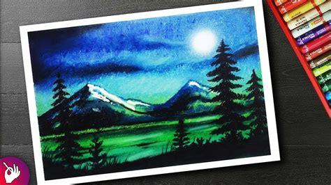 moonlight drawing  beginners  oil pastel landscape