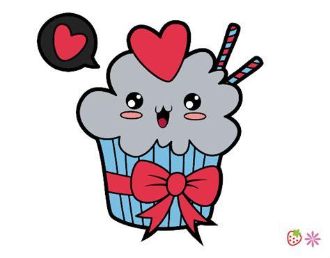 Desenho De Cupcake Kawaii Com Laço Pintado E Colorido Por