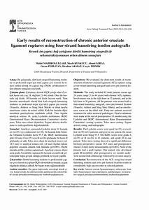 Early Results Of Reconstruction Of Chronic Anterior