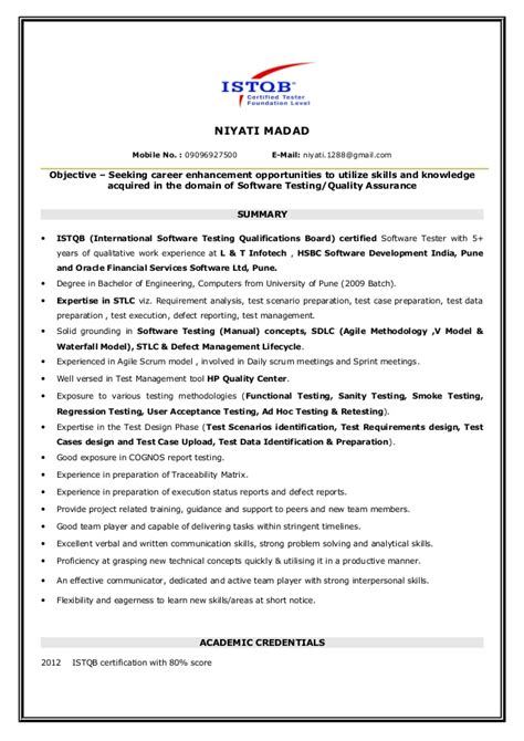 Istqb Certified Tester Fresher Resume by Niyati Manual Testing Istqb Certified Resume
