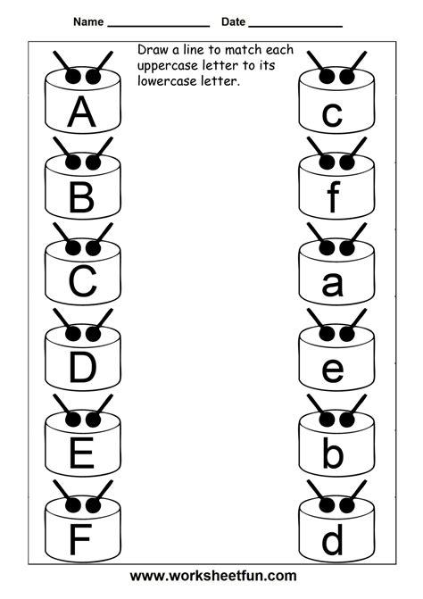 preschool uppercase alphabet worksheets match uppercase