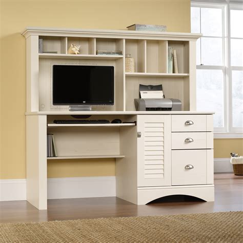 shelves above computer desk white wooden computer desk with triple hutch beside also