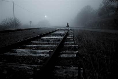 Dark Spooky Railway Mist Scary Woman Monochrome