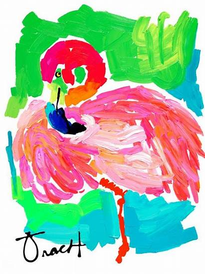 Flamingo Kelly Tracht Turquoise Lilly Pulitzer 16x20