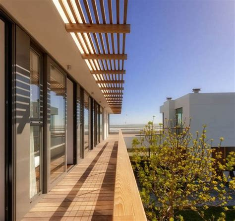 Exterior,wood Awning For Deck Balcony With Slatted Roofs