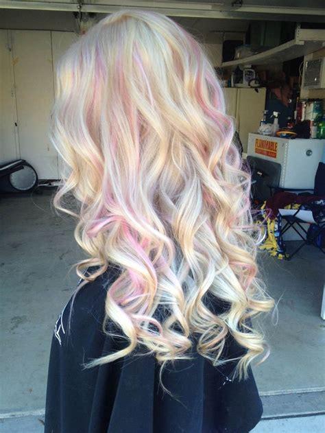 light pink highlights magic unicorn opal hair color strayhair