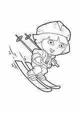 Coloring Ski Skiing Pages Snow Dora Skis Themed Dinokids Drawing Ausmalen Close Explorer Squidoo sketch template