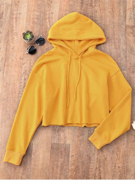 pullover cropped sporty hoodie  mustard