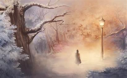 Narnia Chronicles Lantern Fantasy Artwork Trees Winter