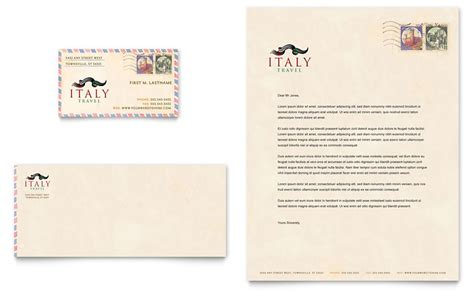 italy travel business card letterhead template word