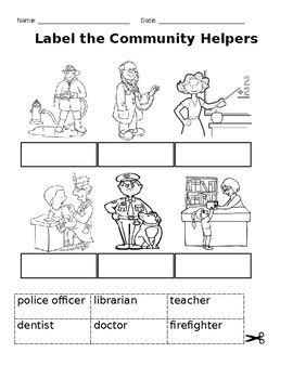 Set Of Community Helper Worksheets By Porta'sproducts Tpt