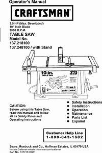 Craftsman 137218100 User Manual Table Saw Manuals And