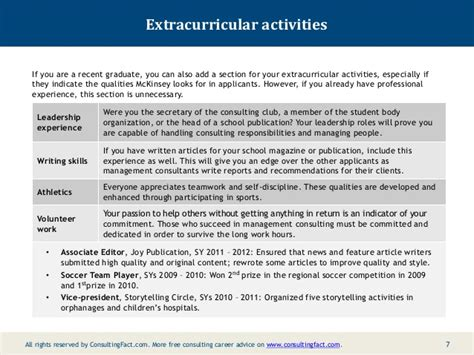 Volunteer And Extracurricular Activities Resume by Mckinsey Resume Sle
