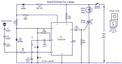 Simple Touch Dimmer Circuit Diagram Using