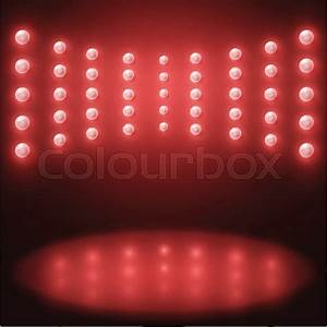 Vector stage Lighting Background, with red light bulbs ...
