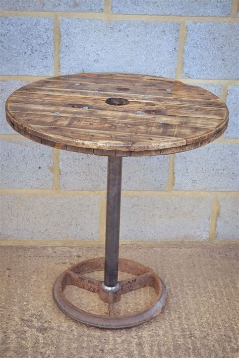upcycled cable reel poseur bar table  brunswickvintage