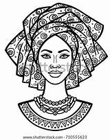 African Turban Portrait Drawing Animation Vector Coloring Shutterstock Monochrome Drawings Poster Africanas Linear Illustration Adult Mask Paintings Africa áfrica Para sketch template