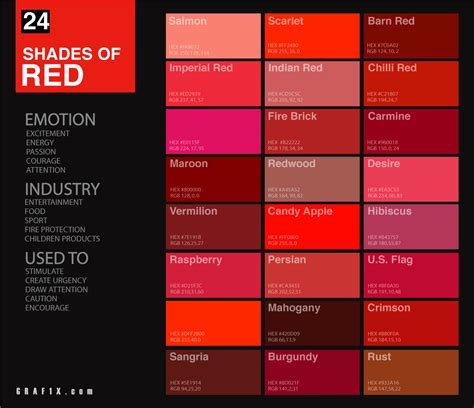 This color's complement is #00d7ff, which is the opposite on the color wheel. 24 Shades of Red Color Palette - graf1x.com