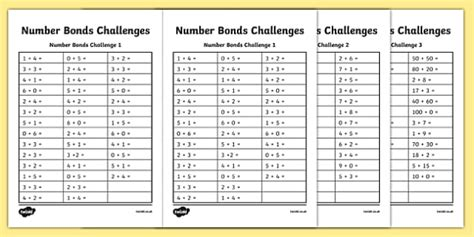 number bond challenge worksheet worksheet worksheet