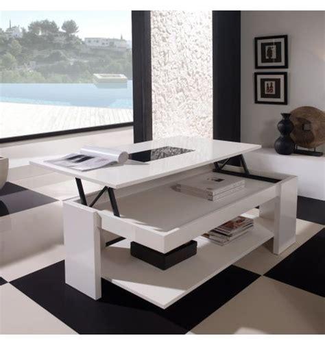 plateau de bureau en verre table basse relevable design blanche meuble