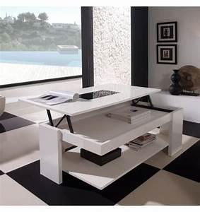 Table Basse Relevable Blanche : table basse relevable design blanche meuble ~ Teatrodelosmanantiales.com Idées de Décoration