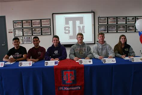 national letter of intent signing day signing day st margaret s athletes sign national letters