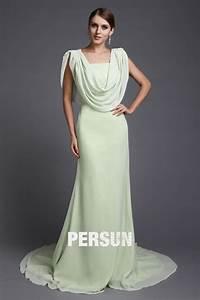 robe de soiree longue elegante drapee en mousseline verte With robe de soirée en mousseline longue