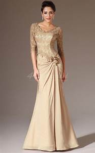 long mermaid chiffon and lace gold bridesmaid dress with With gold wedding dresses with sleeves