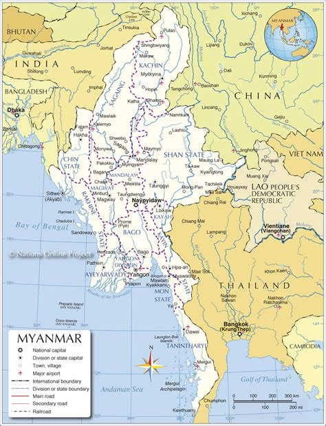 administrative map  myanmar burma nations  project