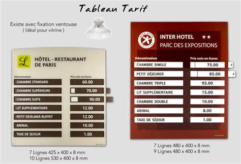 tarif chambre hotel creobs signalétique porte clé et accessoires tableau tarif