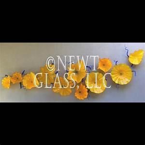 California Wall art blown glass yellow flowers - Gallery