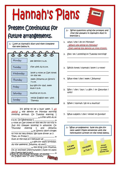 present continuous  future plans worksheets