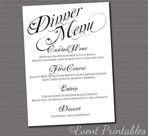 printable menu card diy wedding reception dinner menu