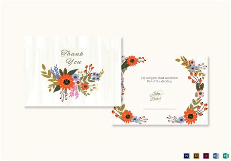 thank you card template indesign summer floral thank you card design template in