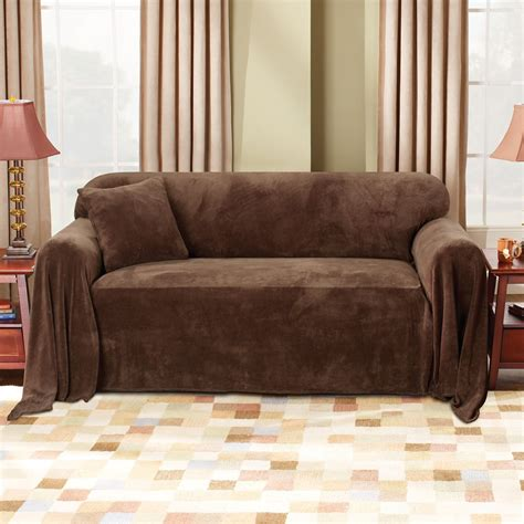 sure fit plush sofa throw cover sure fit plush chocolate sofa throw slipcover home home decor pillows throws slipcovers