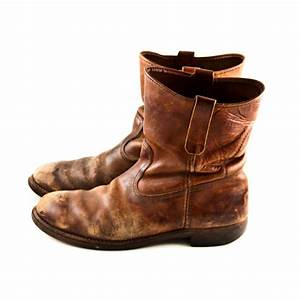 Vintage Leather Boots Men's Rustic Distressed Old by