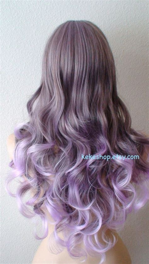 Gray Lavender Gradient Colors Wig Long Curly Hair By