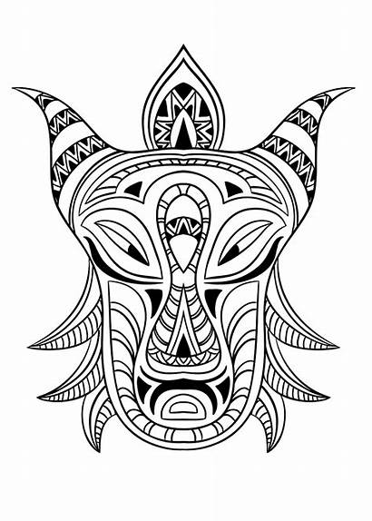 Coloring African Mask Africa Adult Pages Adults
