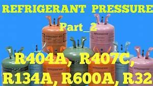 Gas Charging Pressure R404a  R407c  R134a  R600a  R32