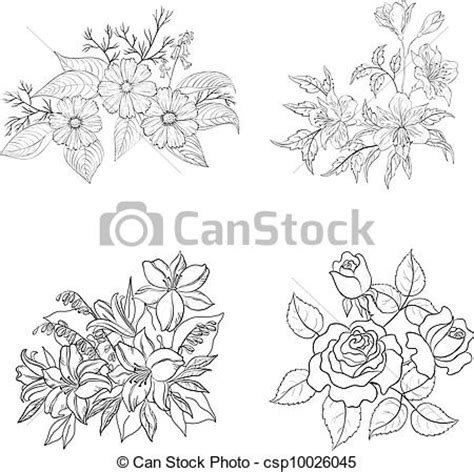 cultivated flowers outline set set  cultivated