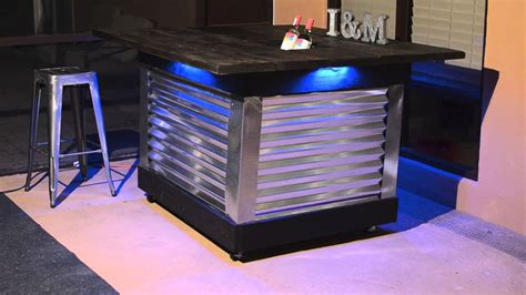 industrial bar table and chairs diy patio bar table with built in drink cooler and light