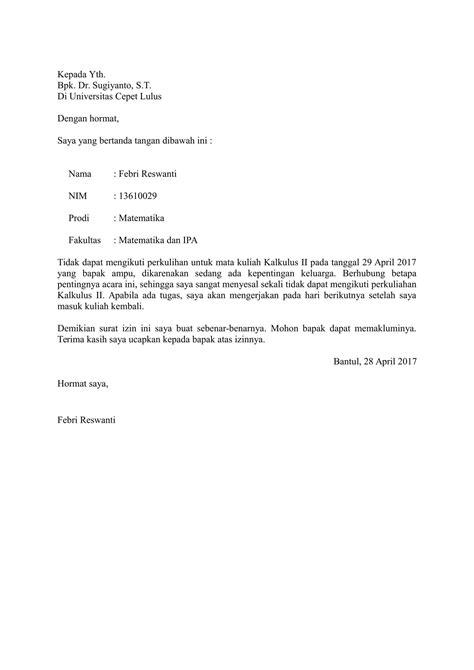 contoh surat izin kuliah  baik  benar